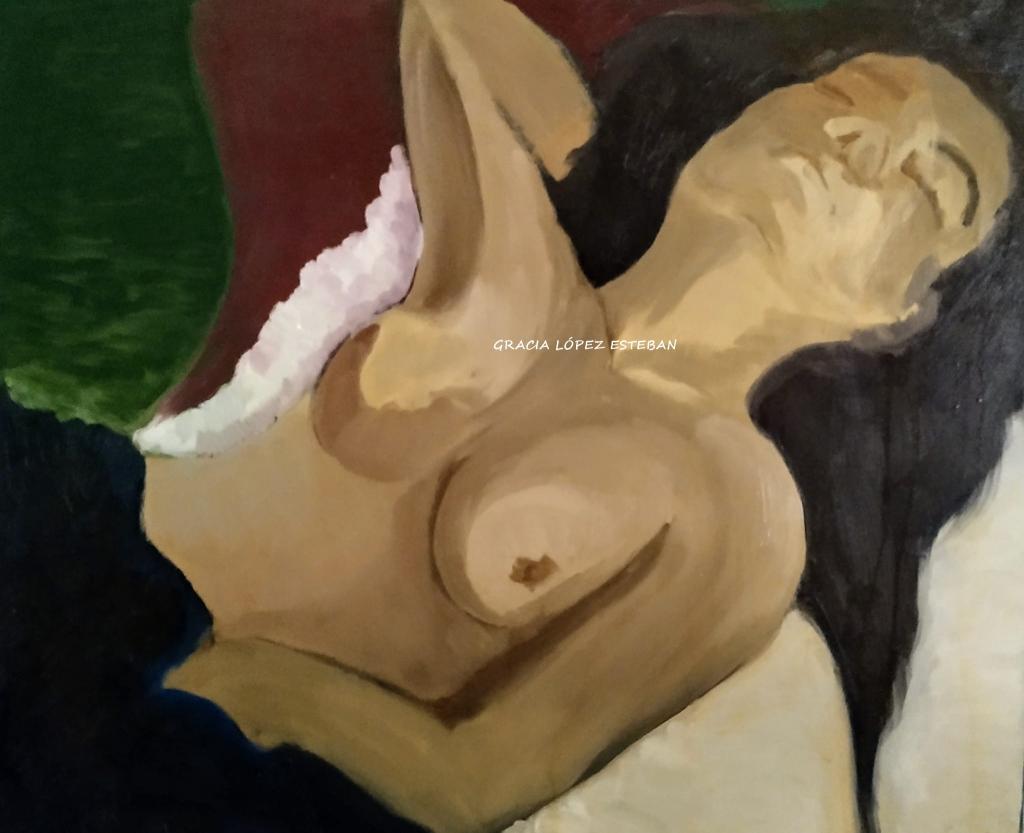 Mujer descansando - Cuadro de Gracia López Esteban. Pintura al óleo. Óleo sobre lienzo.