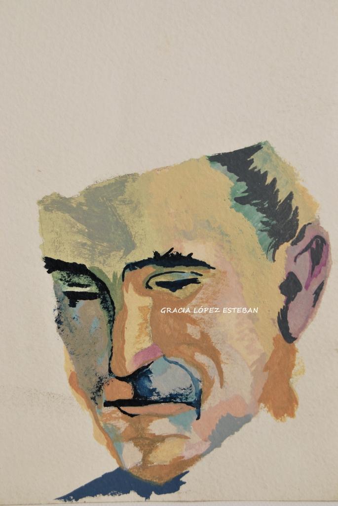 Retrato - cuadro de Gracia López Esteban. Acuarela.