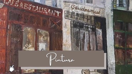 Café Gaudeamus, París. Cuadro de la escritora Gracia López Esteban. Pintura al óleo.