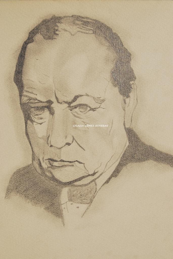 Dibujo a lápiz de Winston Churchill. Gracia López Esteban.