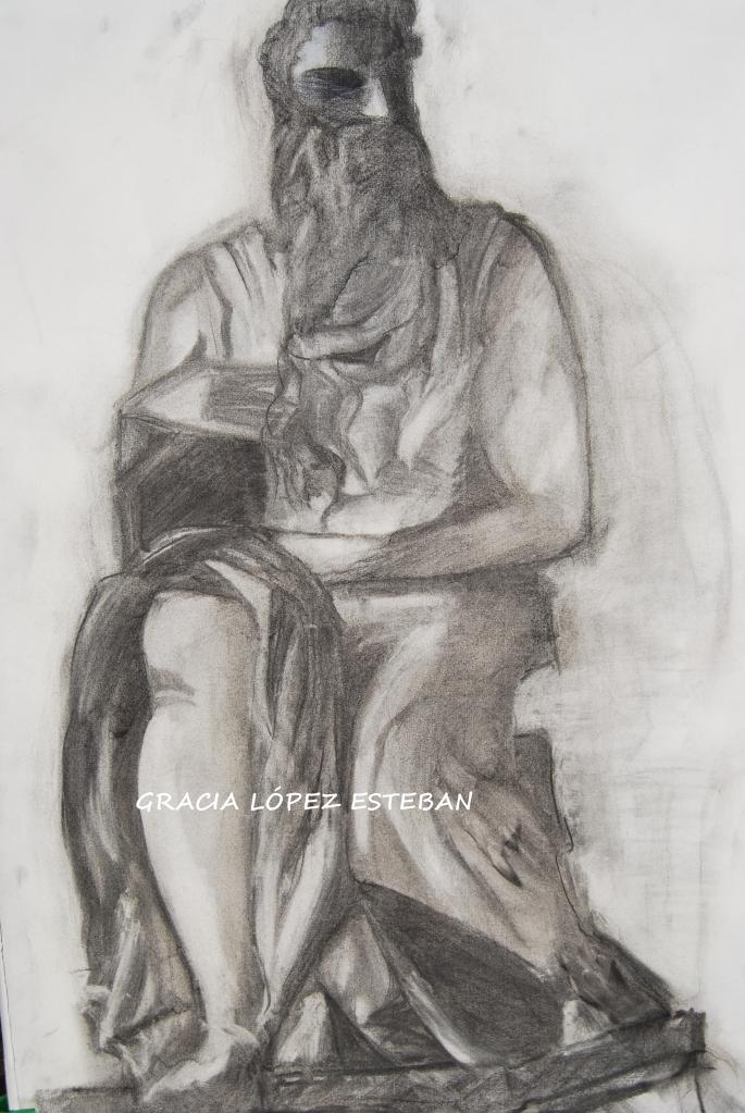 Moisés, dibujado a carboncillo. Gracia López Esteban.
