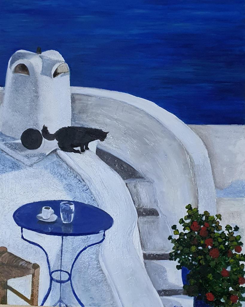 """cuadro """"Gato negro mirando el mar, Santorini"""" Exposición Mamuka Café"""